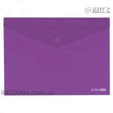 Конверт пластиковий на кнопці A4 Economix E31301-12 прозорий фіолетовий