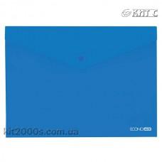Конверт пластиковий на кнопці A4 Economix E31301-02 прозорий синій