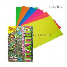 Кольоровий папір А4, 12арк. 6 кольорів флуоресцентний Olli-0412 Україна