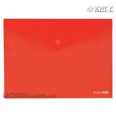 Конверт пластиковий на кнопці A4 Economix E31301-03 прозорий червоний
