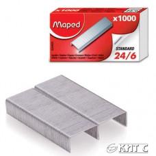 Скоби для степлера № 24/6 MAPED 1000шт/уп