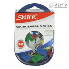 Кнопки-прапорці Skiper кольорові 36шт/уп. в пластику