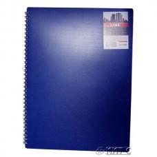 Зошит А4 80 арк. на бік спіралі PL «LINE» обкладинка синій пластик, клітинка ТА 4380-945