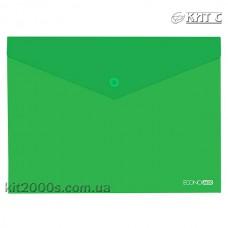 Конверт пластиковий на кнопці A4 Economix E31301-04 прозорий зелений