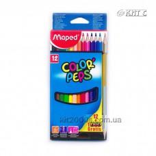 Олiвці кольорові Maped COLOR PEPS 12шт/набір + 1олівець GOLD/SILVER
