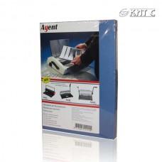 Обкладинка для біндера картон під шкіру A4 230г синя 100л/пач