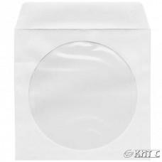 Конверт для CD/DVD паперовий з вікном білий