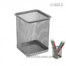 Підставка стакан для ручок сітка металева Axent 2111-03-A квадратна срібляста