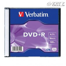 Диск DVD+R Verbatim, 4.7GB, 16x (Slim case) (43556/ 43657/ 43515)