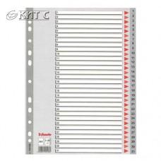 Розділювач 1-31, А4 пластиковий сірий, ESSELTE