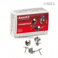 Кнопки канцелярські Axent 4201-A 50шт/уп нікельовані