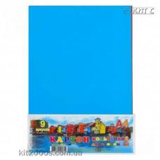 Кольоровий картон А4, 9арк. 9 кольорів 2-х стороній мелований