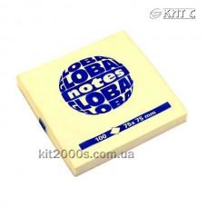 Паперовий клейкий блок GlobalNotes 75х75мм 100л yellow