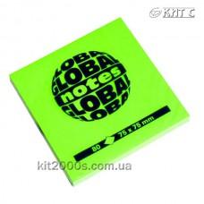 Паперовий клейкий блок GlobalNotes 75х75мм 80л NEON Green