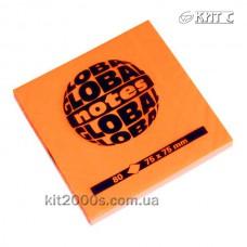 Паперовий клейкий блок GlobalNotes 75х75мм 80л NEON Orange
