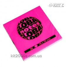 Паперовий клейкий блок GlobalNotes 75х75мм 80л NEON Pink