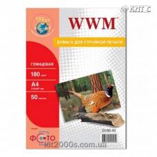 Фотопапір WWM глянцевий 180 г/м2 (G180.50), А4, 50 аркушів