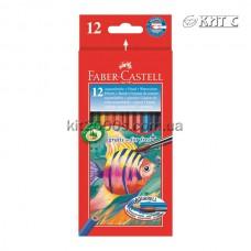 Олiвці кольорові Faber-Castell Акварельні картон 12шт/набір + пензлик