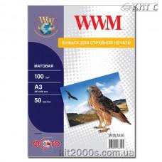 Фотопапір WWM матовий 100 г/м2 (M100.A3.50), А3, 50 аркушів