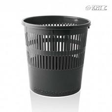 Кошик для паперів пластиковий, рифлений, круглий чорний